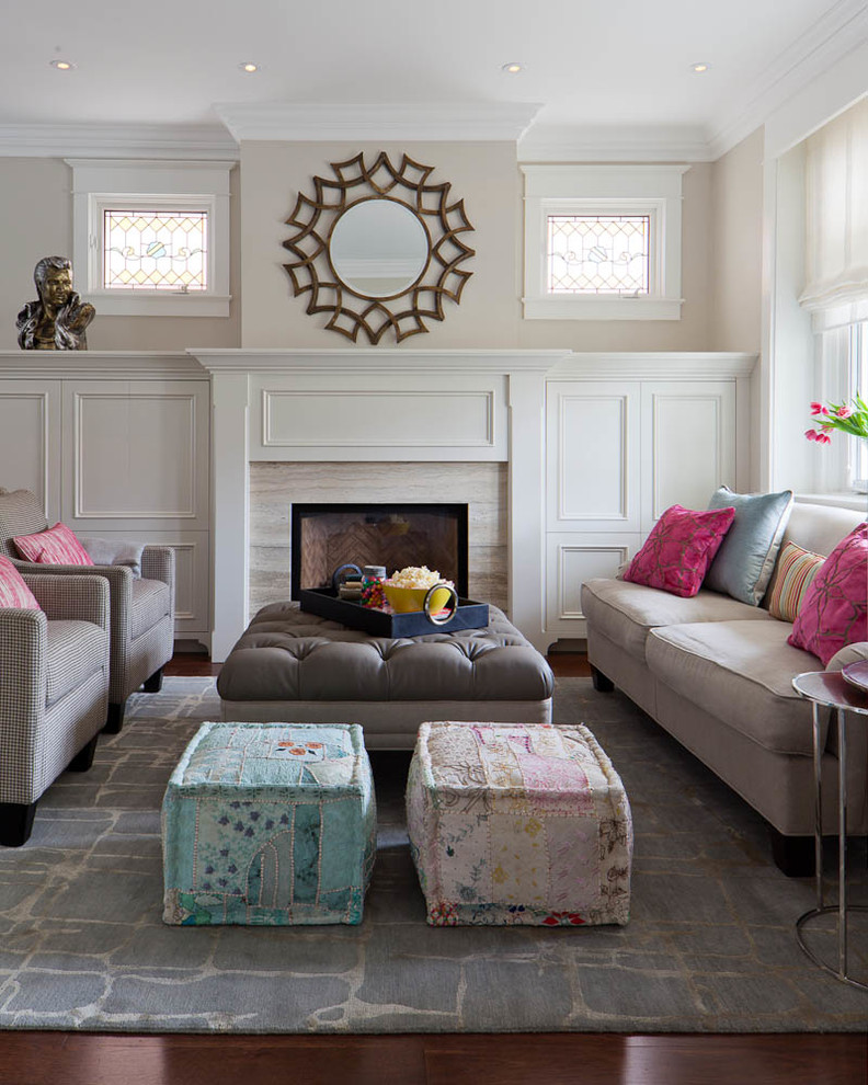 Add them to your living room for informal seating or a foot rest. Also . - Living Room Poufs ~ Home & Interior Design