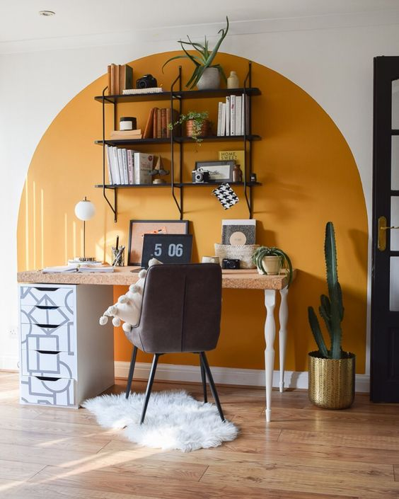 A Small Home Office With A Grand Style